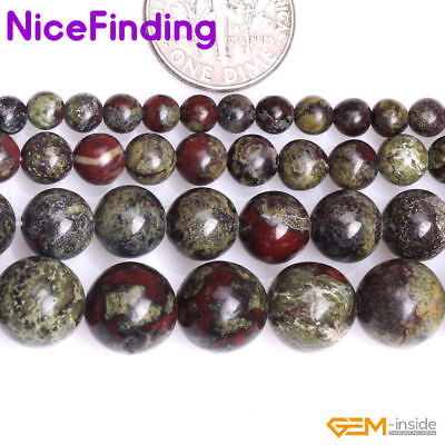 Natural Gems Green Red Australia Blood Jade Stone Beads For Jewelry Making 15""