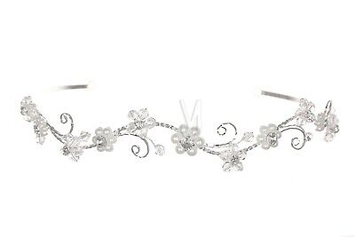 Bridal Wedding Floral Rhinestone Crystal Pearl Tiara Headband 1160