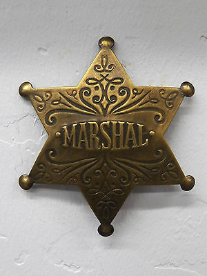 Deluxe Brass Law Star Badge Fancy Marshal Vtg-Look Patina