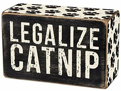 "Primitives By Kathy 4"" x 2 1/2"" Wood Wooden BOX SIGN ""Legalize Catnip"""