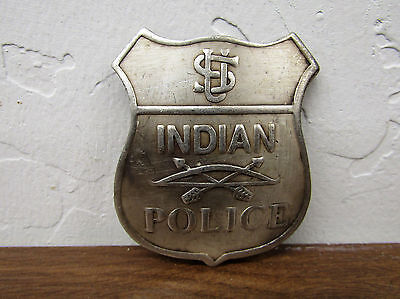 Deluxe Copper/Silver Law Star Badge US Indian Police Vintage-Look Patina