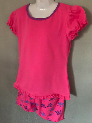BNWT Girls Sz 10 Pretty Hot Pink Ruffles Short Summer Style Stretch PJ Pyjamas
