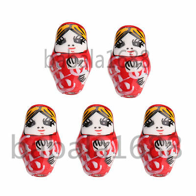 10Pcs Hand Painted 1 inch Porcelain Russian Matrioshka Nesting Doll Beads 22mm