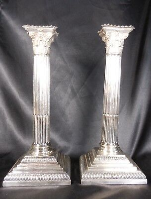 Antique silverplated 2 Candlesticks Hawksworth Eyre & Co Base Needs restoration