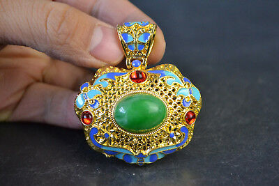 Vintage China Style Decor Old Green JadeTibet Silver butterfly Noble Pendant