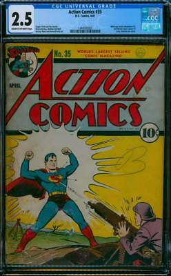 Action Comics # 35   World War II cover !  CGC 2.5 rare Golden Age book !