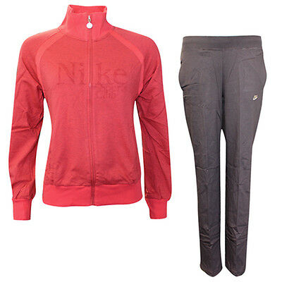 Nike Sports Club Cotton Full Zip Jumper Jogging Bottoms Girls Tracksuit Red