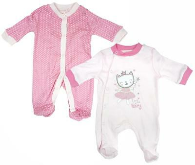 Girls Baby PACK OF 2 Fairy Kitty Sleepsuit Cotton Rompers Newborn to 9 Months