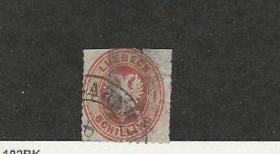Lubeck, Germany, Postage Stamp, #9 Used Space Filler, 1863