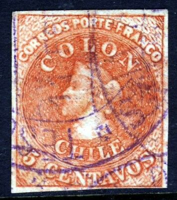 CHILE 1866  5c. Red-Brown COLON FIRST REPRINT  VFU
