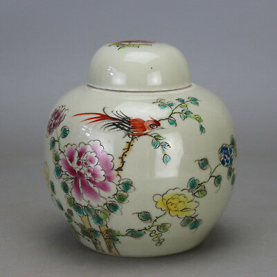 Chinese old famille rose porcelain bird & flower pattern tea caddy