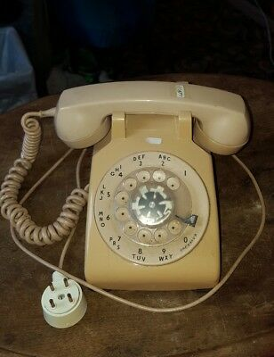 Vintage 1960s Tan Hard Wired  Rotary Desk  Phone Bell System Western Electric