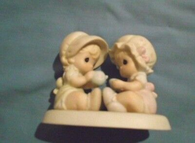 """Darling PRECIOUS MOMENTS FIGURINE """"Friendship Hits the Spot"""" 2 toddlers sharing"""