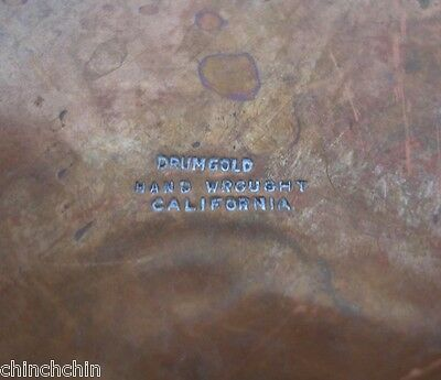ARTS CRAFTS style Signed DRUMGOLD HANDWROUGHT Copper BOWL Big LOVELY Rich PATINA