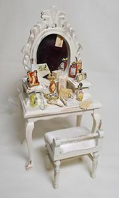 Dolls house Miniature Filled Ladies Dressing Table finished in antique cream