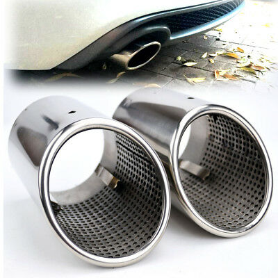 2PCS Stainless Steel Exhaust Tail Pipe Rear Muffler Tip Cover For AUDI Q7 07-15
