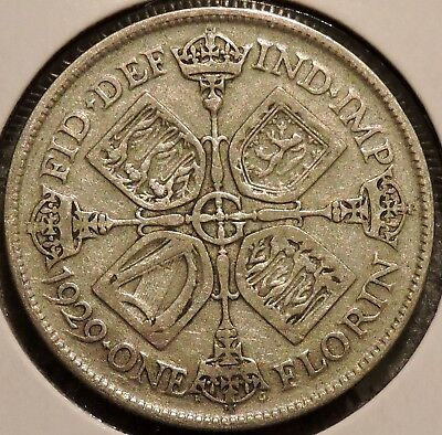 British Florin - 1929 - Big Silver Coin - $1 Unlimited Shipping