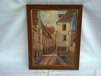 Ancien Tableau Huile Sur Toile Bourges 18 Signee Old Table Oil On Canvas