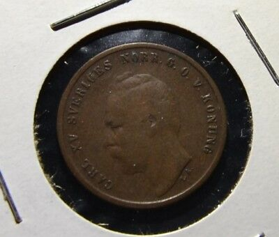 Sweden Ore 1862 Older Date Swedish Coin Nice Details Scarce Date  - G65