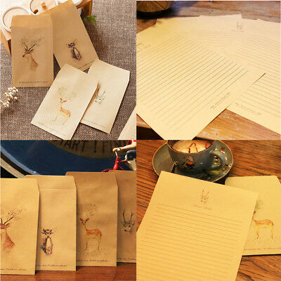 50pcs/Set Rustic Deer New Year Greeting Writing Paper w/ Envelopes Gift Favors
