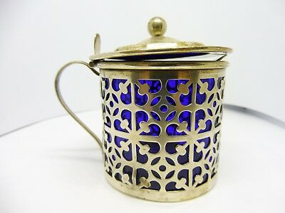 Sterling Silver Mustard Pot With Cobalt Liner