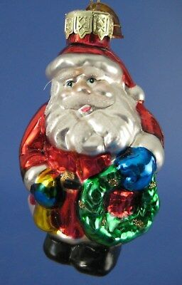 Santa Claus Glass Christmas Tree Ornament Thomas Pacconi Wreath Gold Horn