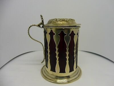 Sterling Silver Mustard Pot With Cranberry Glass Fitter