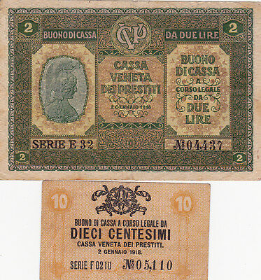 10 Centessimi &2 Lire Vf Banknotes From Austrian Occupation Of Venice 1917!
