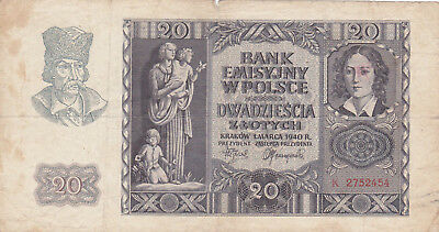 20 Zlotych Fine Banknote From German Occupied Poland 1940!pick-95!!
