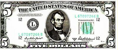 1950 B $5 Bill  American Currency Five Dollar Federal Reserve Note---FINE