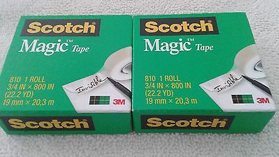 "2 Rolls Scotch Magic Tape Refill Rolls 1"" Core Catalog # 810"
