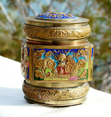 TEA CADDY * CIGARETTE BOX Antique RELIEF ENAMELED BRASS Hand Painted * CHINA *