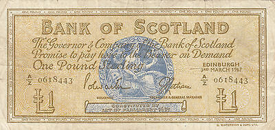 *BANKNOTE*SCHOTTLAND - Bank of Scotland**1 £**3.3.1967**P. 105 b*A/Z 0618443**