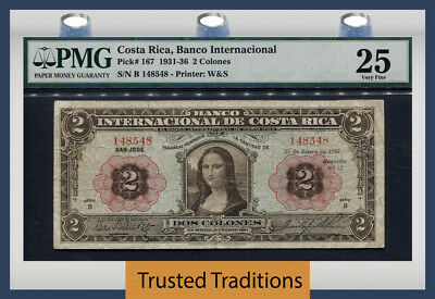 "Tt Pk 167 1931-36 Costa Rica 2 Colones ""stunning Mona Lisa"" Pmg 25 Very Fine Wow"