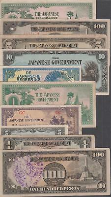 10 Banknotes from WW II Japanese Occupied Territories