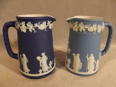 2 Wedgwood Jasper Pitchers / Jugs - Light & Dark Blue Ca 1920-50