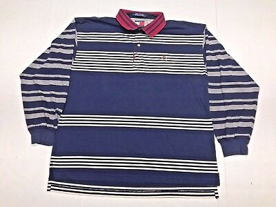 bcb6b050aa3 Vintage TOMMY HILFIGER Long Sleeve Polo Shirt Rugby CREST (Mens XL) Retro  90s
