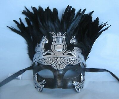 Mens Egyptian/Roman Masquerade Silver & Black Mask with Feathers *NEW*