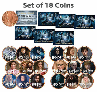 HARRY POTTER Deathly Hallows Licensed UK British Half Penny *COMPLETE18 COIN SET