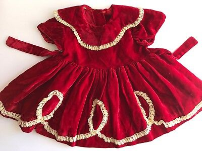 Vintage Christmas Red Velvet Lace Party Toddler Children's Lace Lined Poof Dress