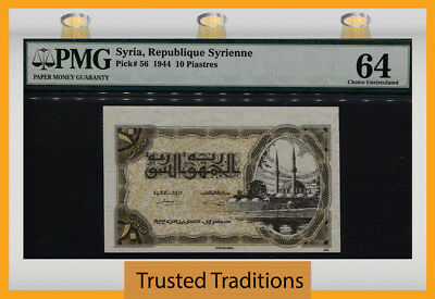 Tt Pk 56 1944 Syria Republique Syrienne 10 Piastres Pmg 64 Choice Uncirculated!