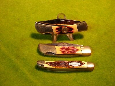Vintage Winchester Usa Knife Lot Of 3 Lock Backs And Stockman Unused Nice