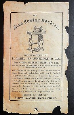 1869 antique AETNA SEWING MACHINE ad PLANER BRAUNSDORF & CO. ny RARE