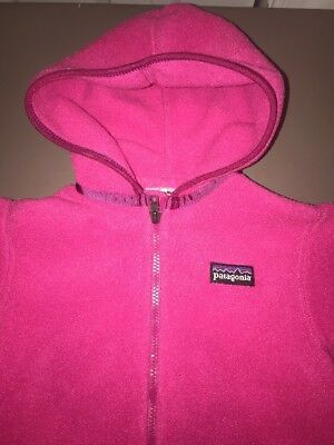 New Patagonia Infant Girl Size 6M Synchilla Hooded Fleece Jacket Pink Soft Warm