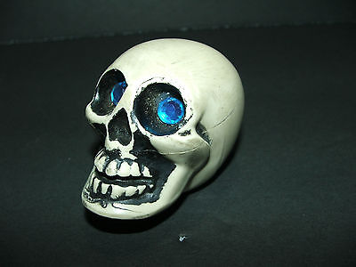 INCREDIBLE vintage skull w/ blue jeweled eyes Hot Rod/Rat Rod shifter knob WOW!