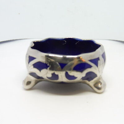 Lenox Sterling Silver Overlay Cobalt Blue Glass Salt Cellar