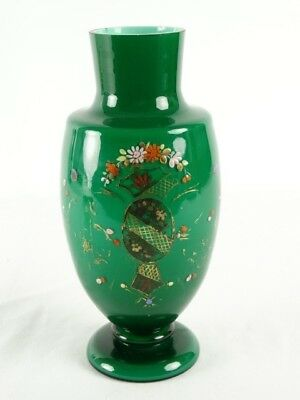 Antique 19thC Continental Cased Milk Glass Vase with Hand painted Decoration