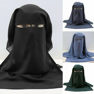 NIQAB MUSLIM HIJAB THREE 3 LAYER ISLAMIC Face Cover Veil Burqa Saudi Burka Nikab