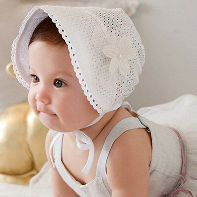 WHITE Newborn Infant Beach Bucket Hat Baby Girl Boy Sun Summer Cap Lace Bonnet