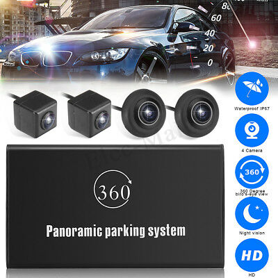 360° Bird View Panoramic System 4 Camera Car DVR Recording Parking HD Rear View